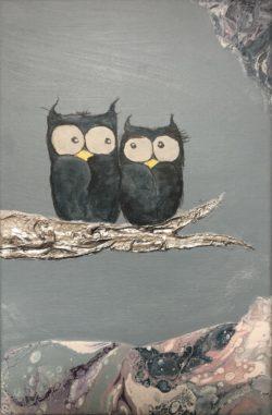 Unik kunst blå ugler